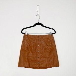 Free People Faux Suede Mini Skirt in Cognac